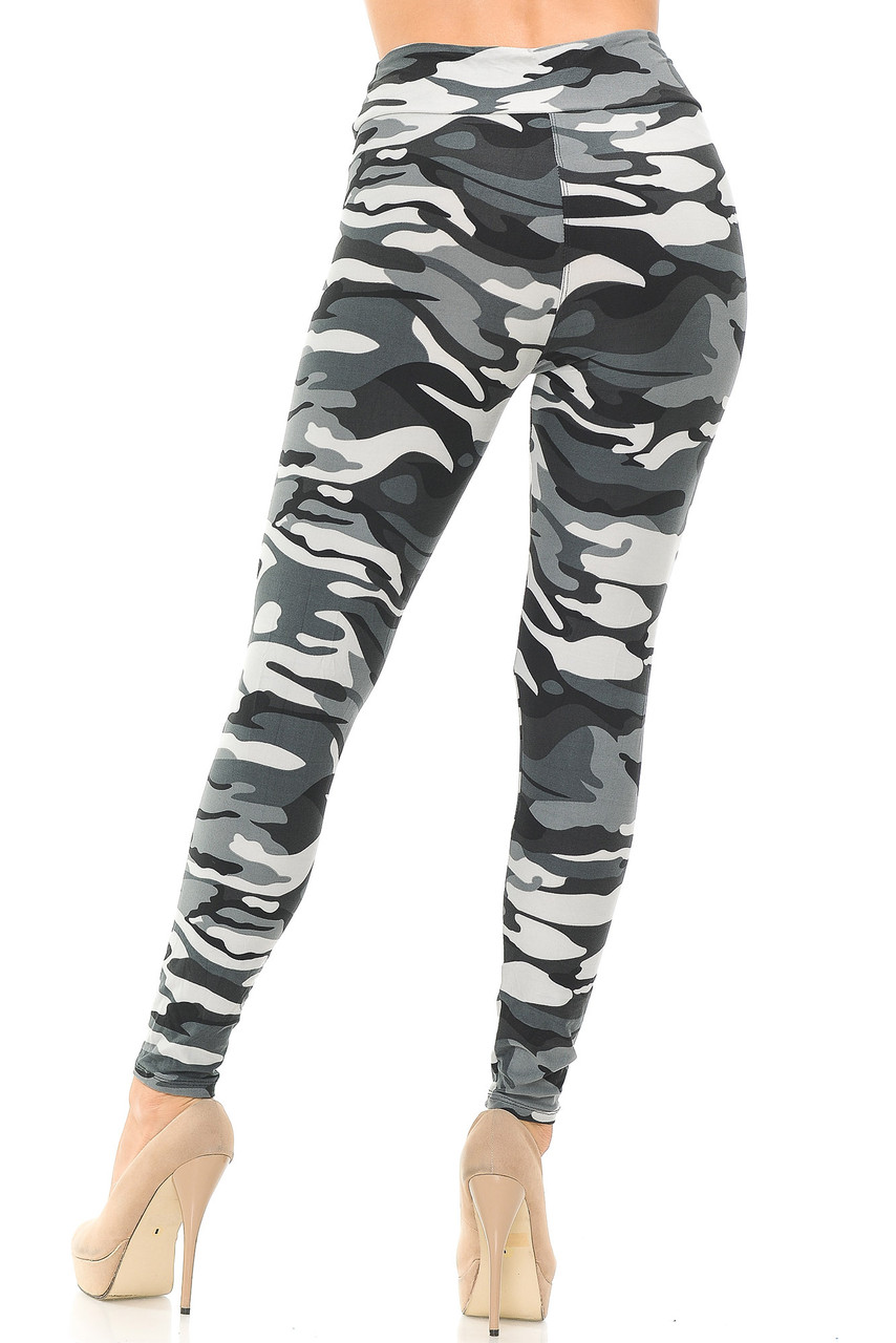 Rear view of Buttery Soft Charcoal Camouflage High Waisted Leggings.