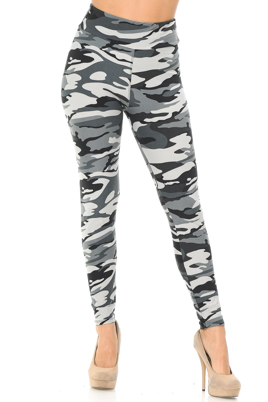 Full length gray, black, and white camo leggings with high waist for sizes 0-10.