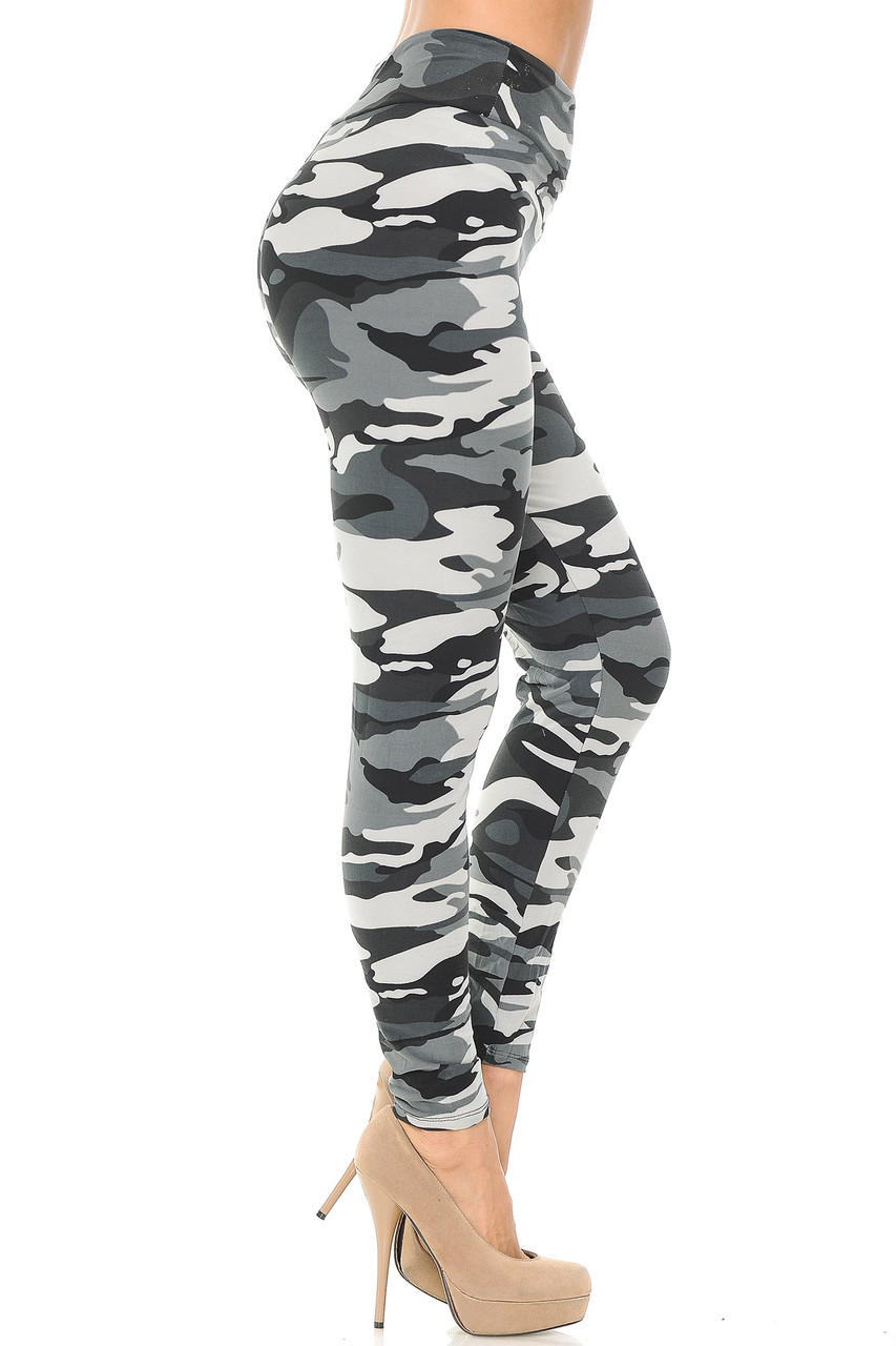 Super soft charcoal, black, and white toned army print leggings.