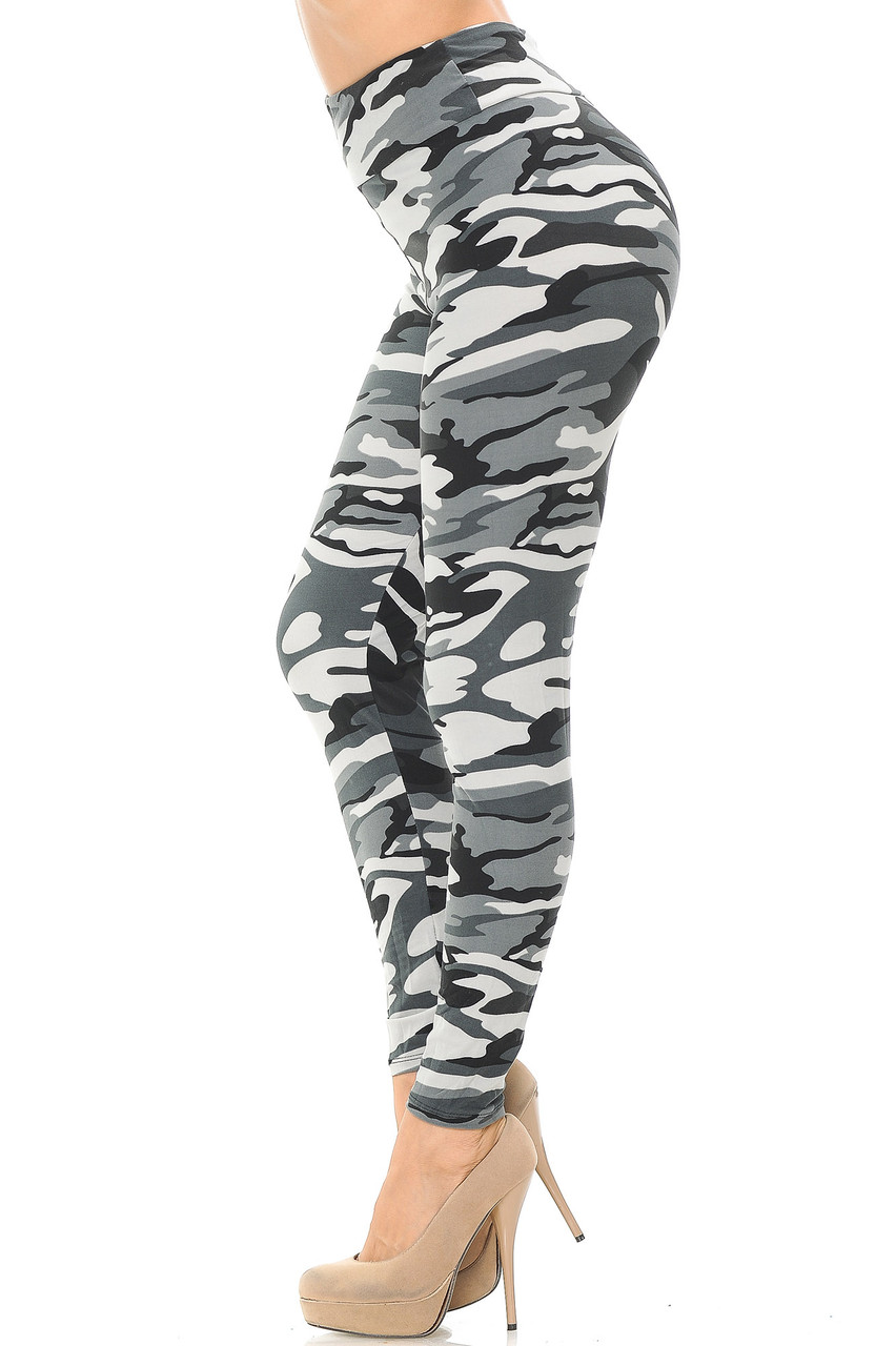 Left side view of Buttery Soft Charcoal Camouflage High Waisted Leggings.