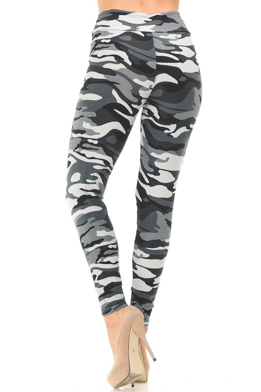 Back view of Buttery Soft Charcoal Camouflage High Waisted Leggings.