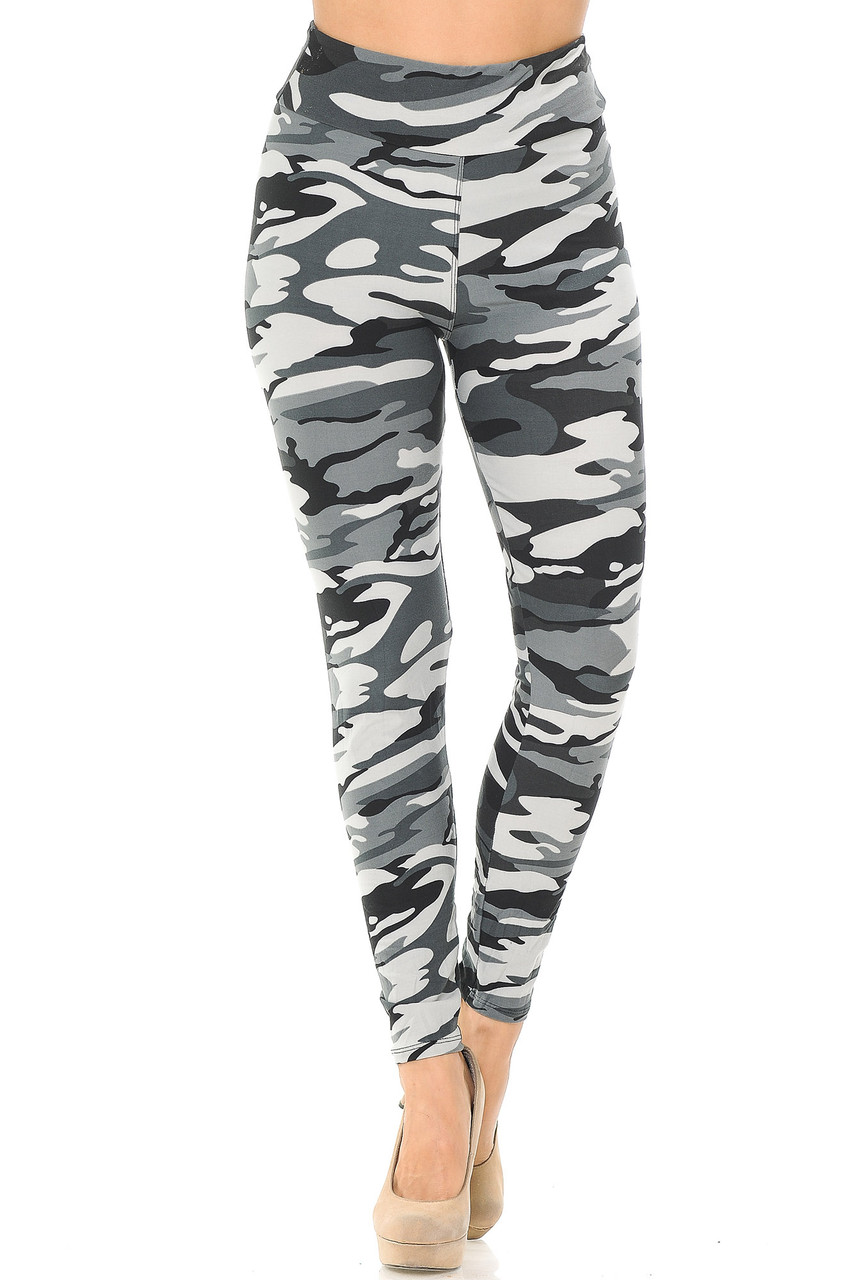 Front view of grayscale colored camouflage leggings with comfort fabric waist.