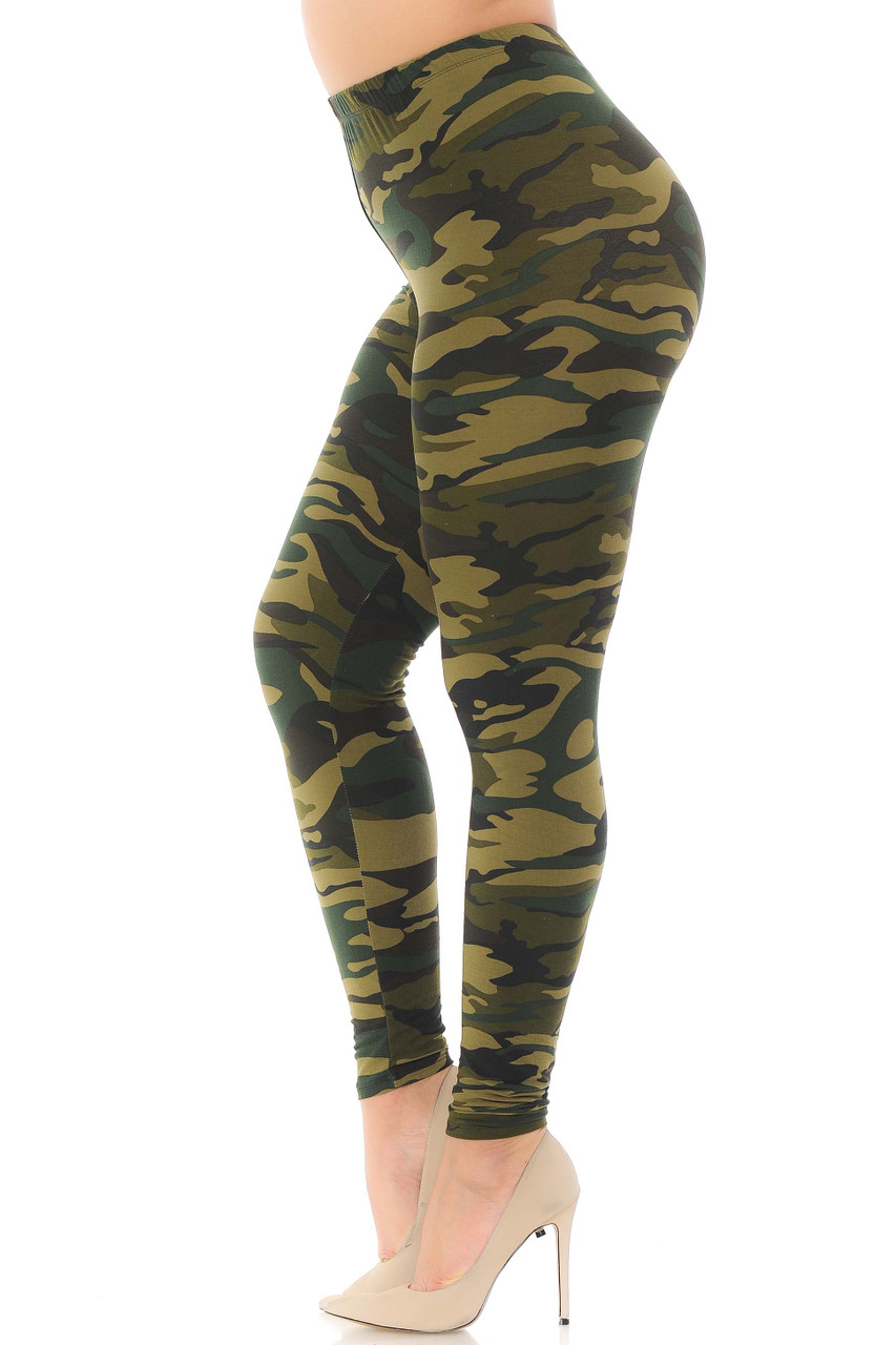 Left side view of Buttery Soft Green Camouflage Plus Size Leggings.