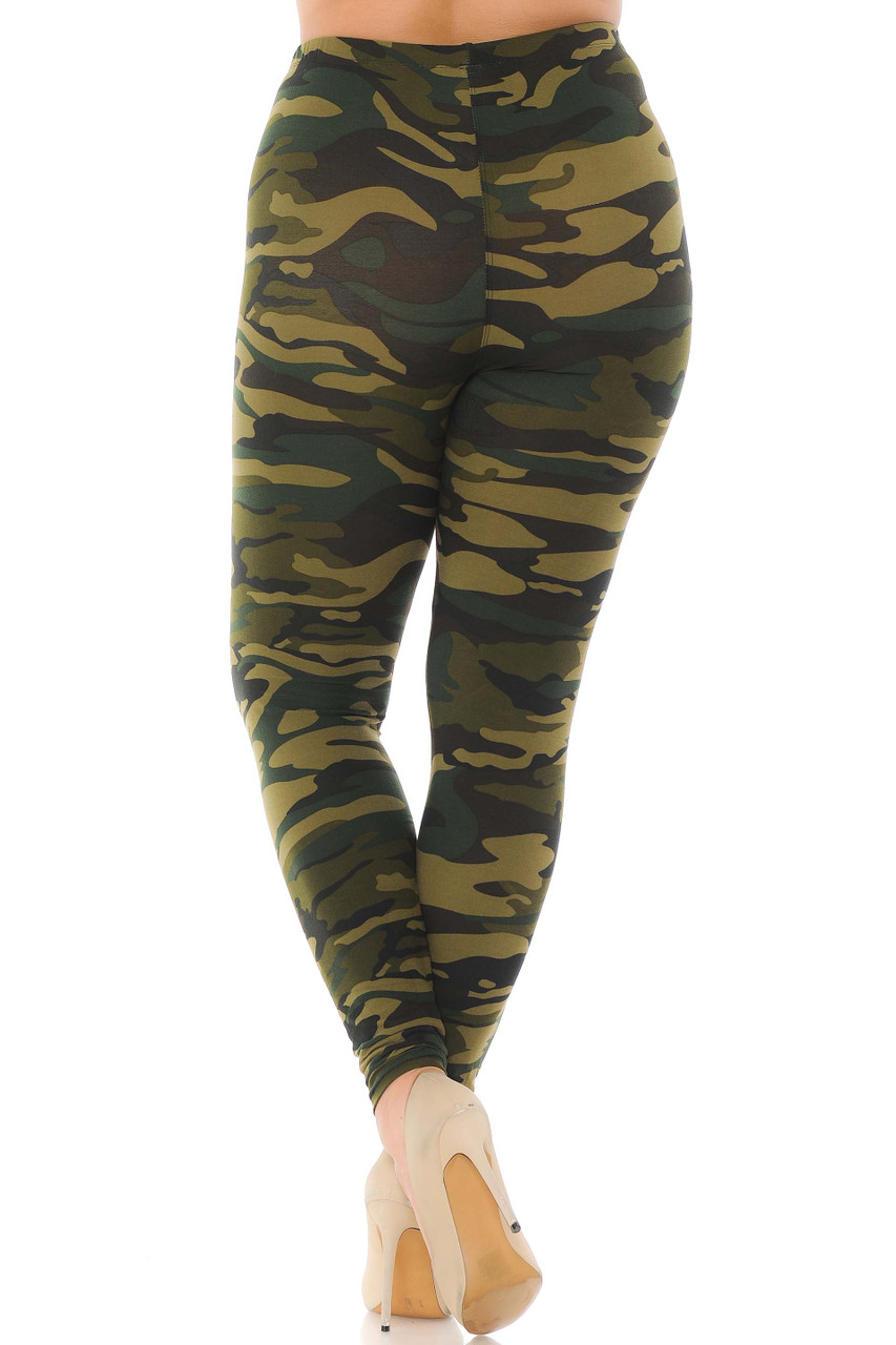 Back view of soft and comfortable green camo print plus size leggings.