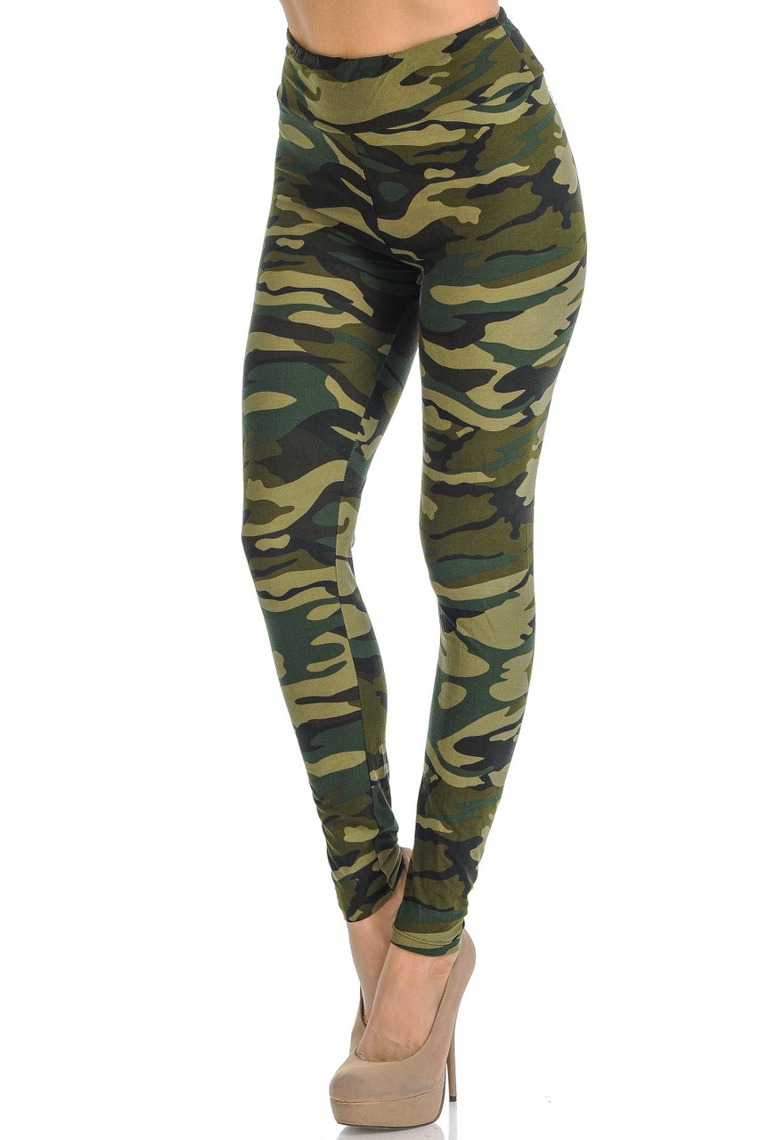 Rotated front view of Buttery Soft Green Camouflage High Waisted Leggings.