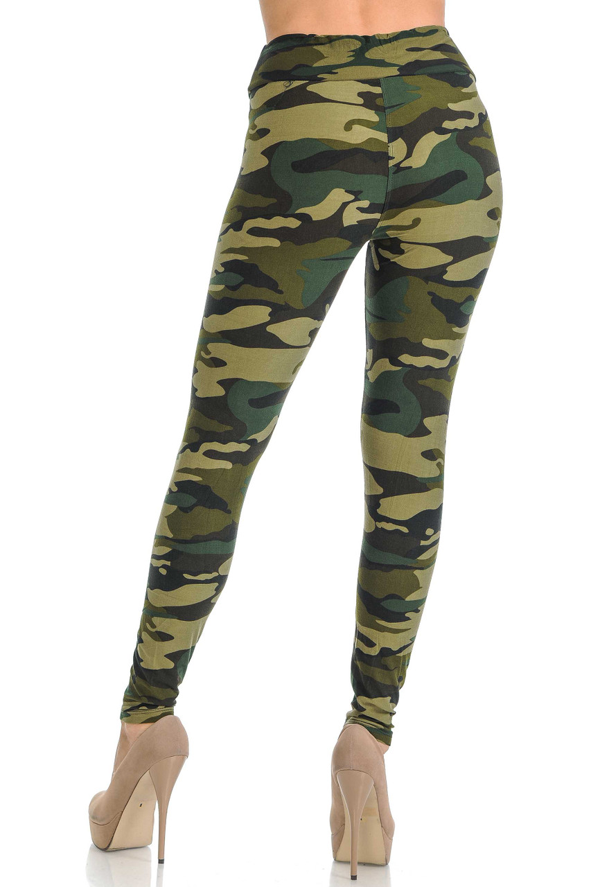 Rear view of green army print leggings with high waist.