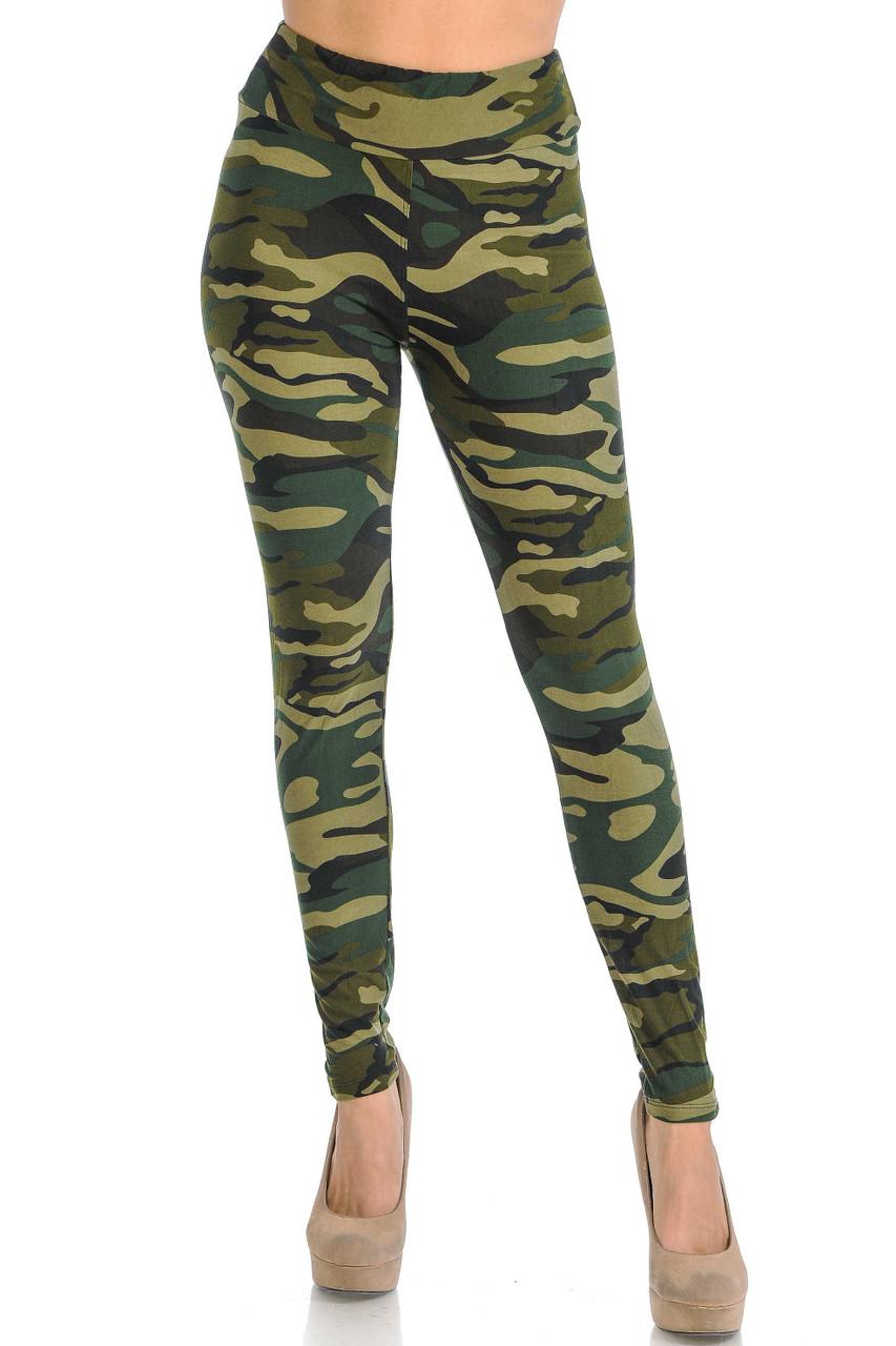 Luxuriously soft green camo print leggings.