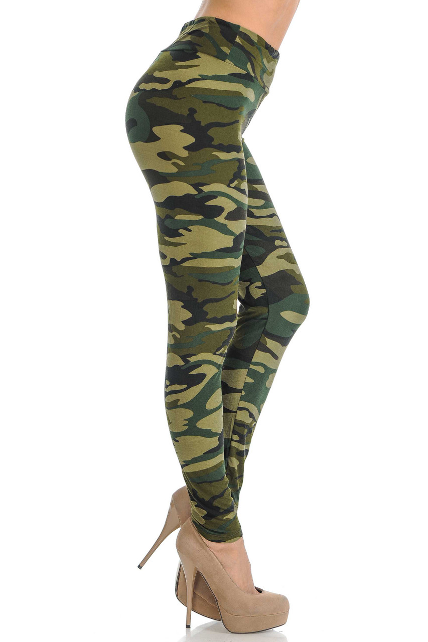 Right side view of silky soft camouflage leggings.
