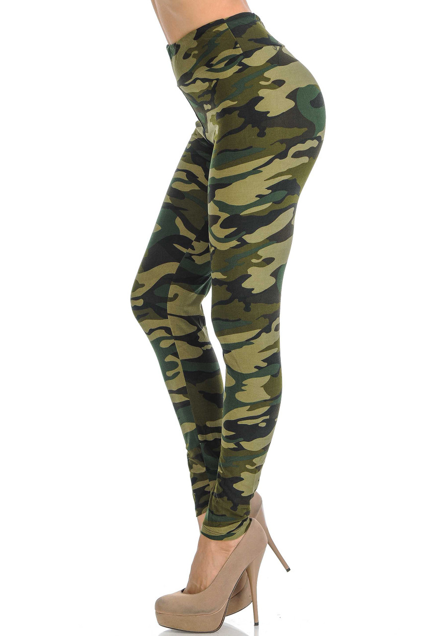 Left side view of Buttery Soft Green Camouflage High Waisted Leggings.