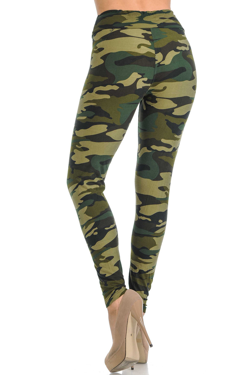 Rotated rear view of Buttery Soft Green Camouflage High Waisted Leggings.