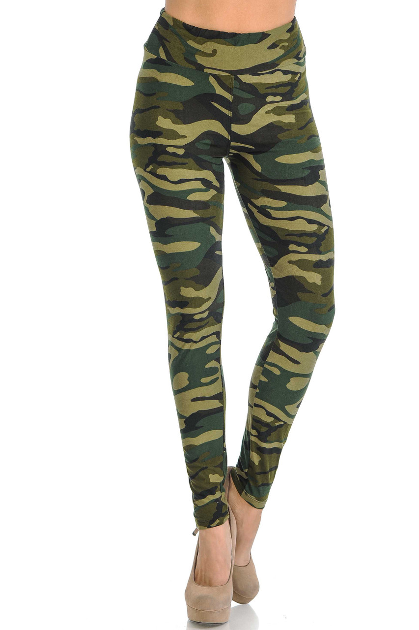 Front of comfortable and soft green camo leggings.