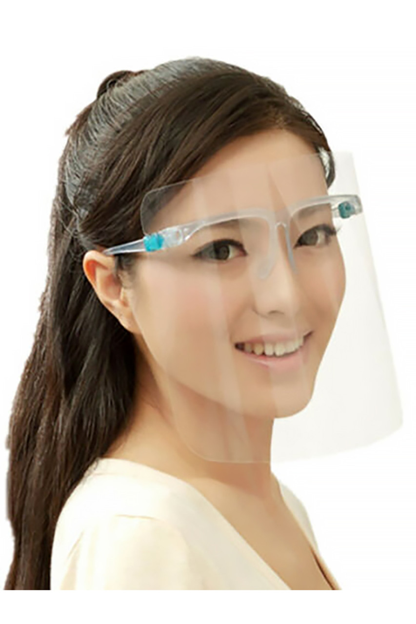 Modeled mid side view of Detachable Full Transparent Face Shield - Clear Colored Support Glasses