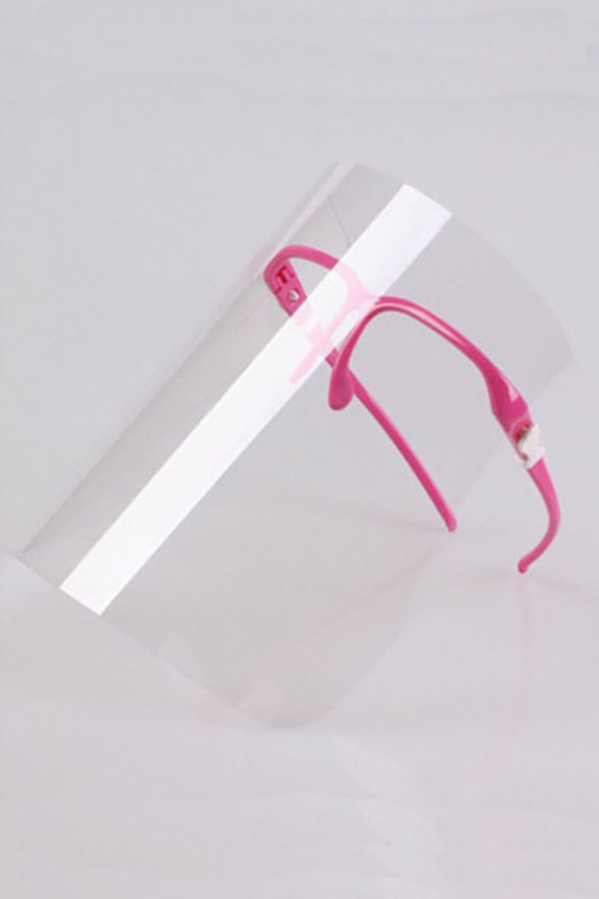 Stand alone image of Detachable Full Transparent Face Shield - Clear Colored Support Glasses in pink.