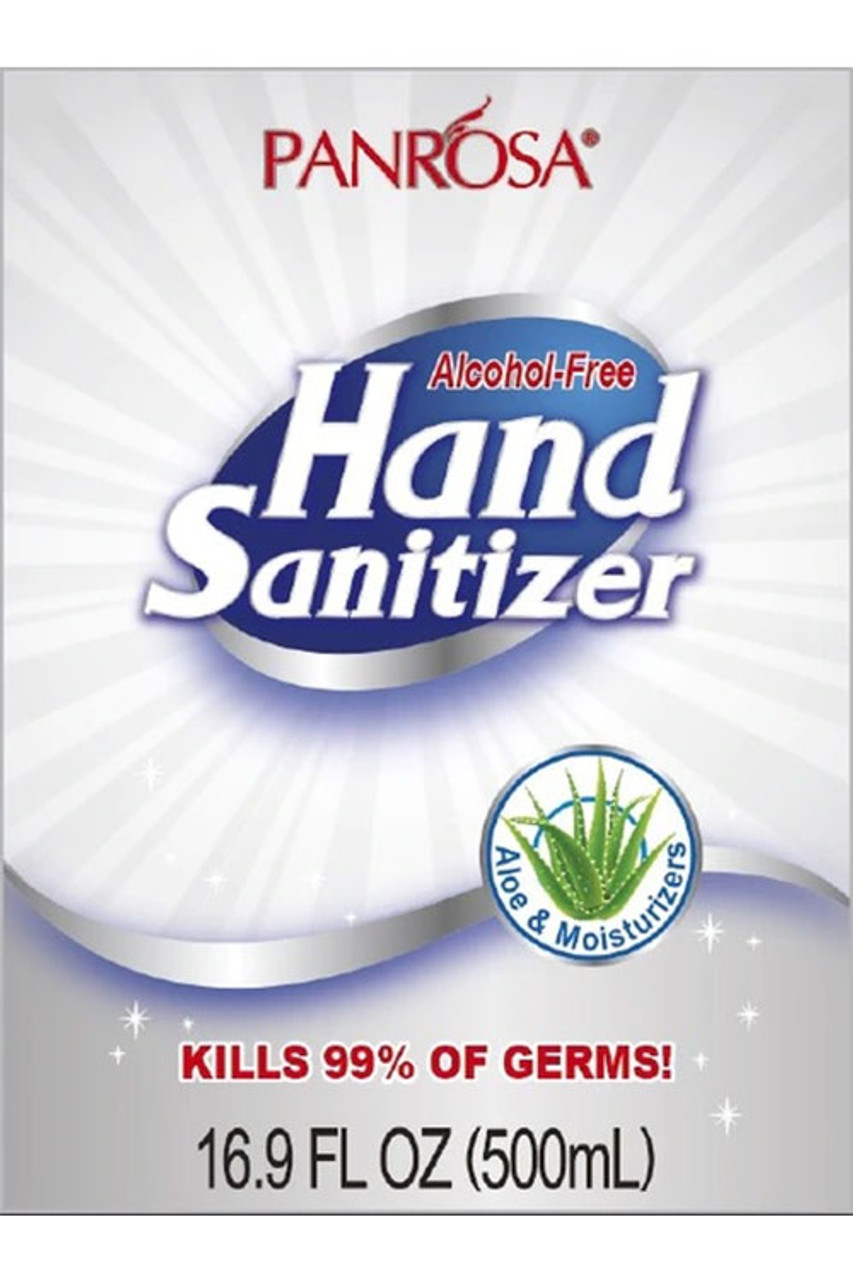 Label view of 6 Pack - 500ml Panrosa Alcohol Free Hand Sanitizer with Aloe - Made in the USA