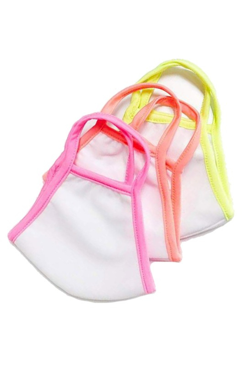 View of three piped detail stye Reusable 2 Ply Cotton Inner Silky Scuba Outer Female Size Face Masks.