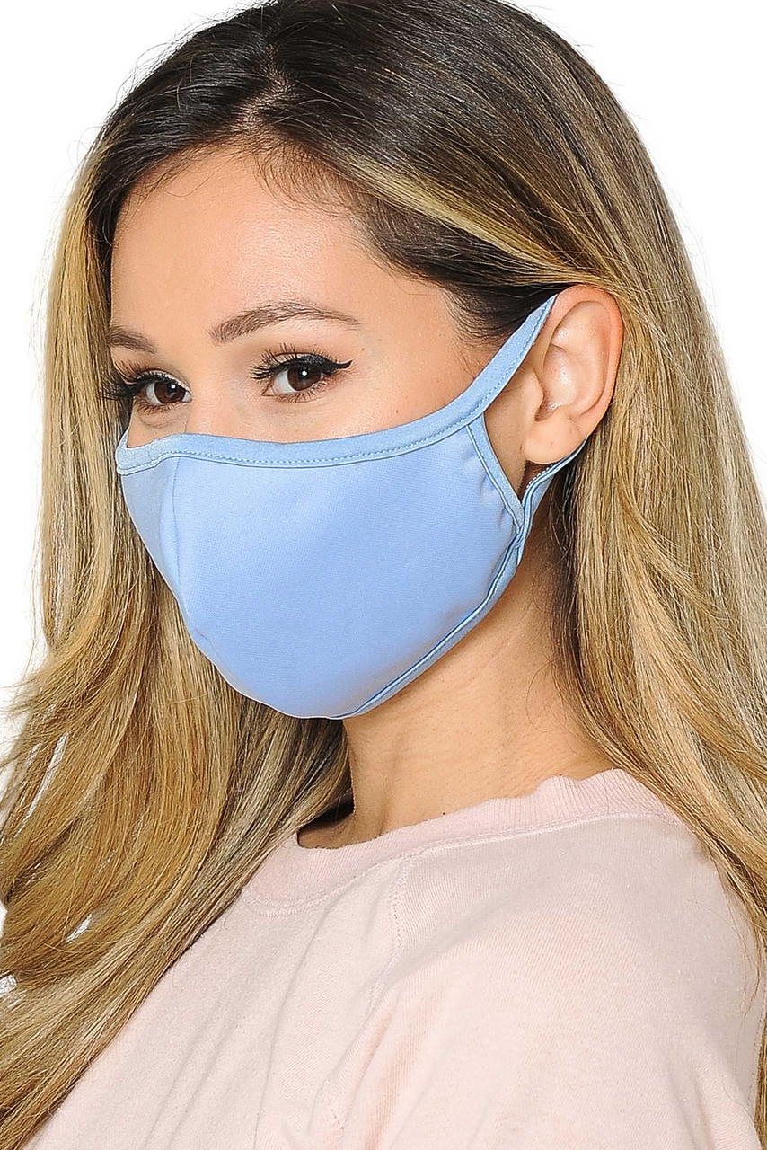Mid side view of  Reusable 2 Ply Cotton Inner Silky Scuba Outer Female Face Mask in blue.