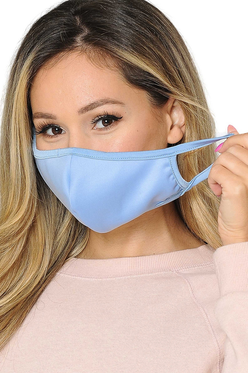 Light blue Reusable 2 Ply Cotton Inner Silky Scuba Outer Female Size Face Mask with comfortable elastic ear supports.