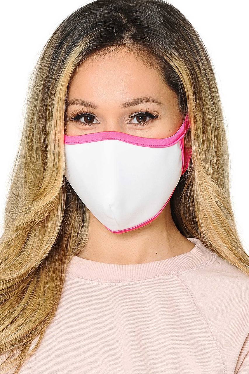 Front view of  Reusable 2 Ply Cotton Inner Silky Scuba Outer Female Size Face Mask in white with pink piping detail.
