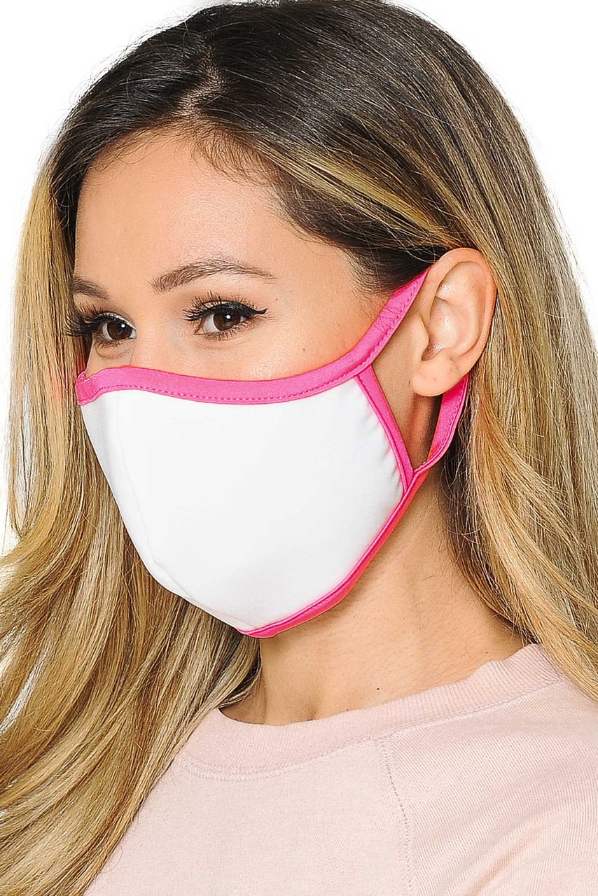 Mid side view of  Reusable 2 Ply Cotton Inner Silky Scuba Outer Female Size Face Mask in white with pink piping detail.