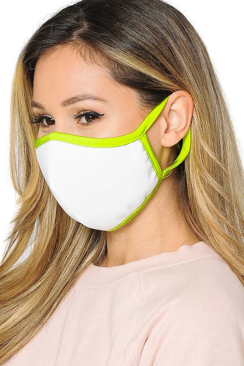 Mid side view of  Reusable 2 Ply Cotton Inner Silky Scuba Outer Female Size Face Mask in white with neon yellow piping detail.