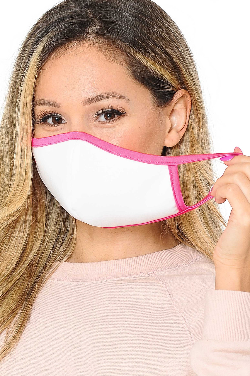 Reusable 2 Ply Cotton Inner Silky Scuba Outer Female Size Face Mask with comfortable elastic ear supports in white with pink piping detail.