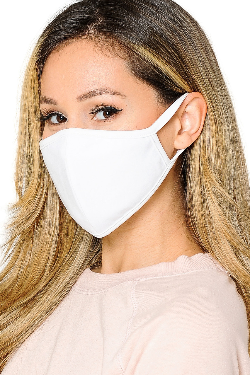 Mid side view of  Reusable 2 Ply Cotton Inner Silky Scuba Outer Female Size Face Mask in solid white.