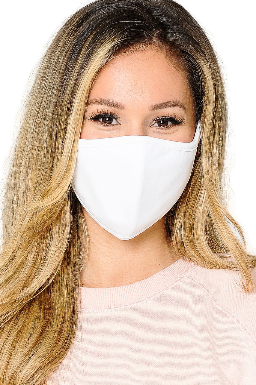 Front view of  Reusable 2 Ply Cotton Inner Silky Scuba Outer Female Size Face Mask in solid white.