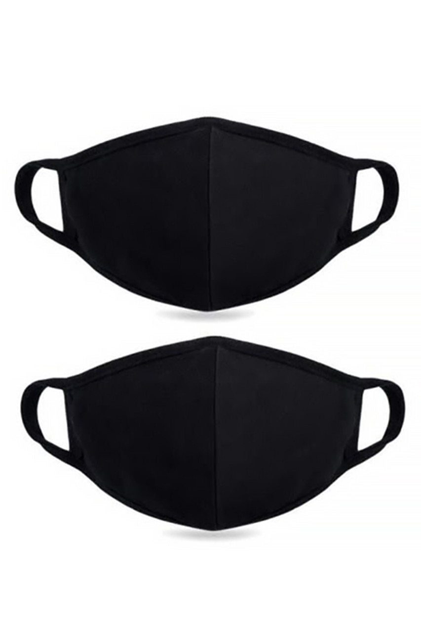Front view of MEN'S FACE MASK- Premium 2-PLY Cotton with PM2.5 Filter Pocket - Made in USA in black
