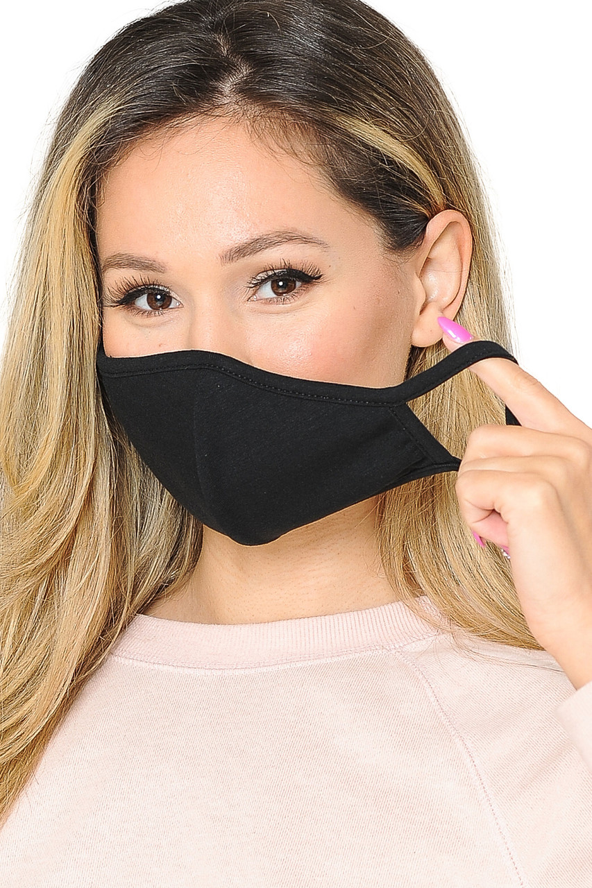 WOMEN'S FACE MASK- Premium 2-PLY Cotton with PM2.5 Filter Pocket - Made in USA in black