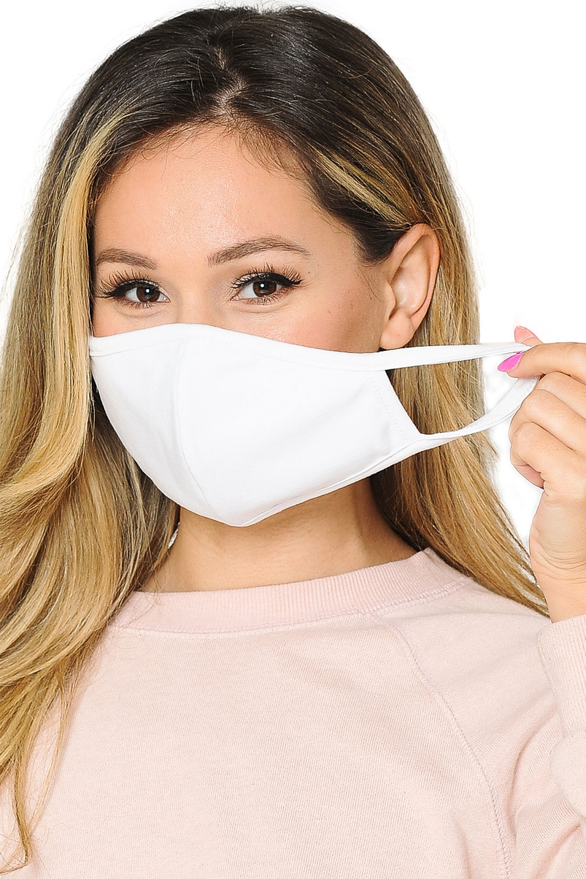 WOMEN'S FACE MASK- Premium 2-PLY Cotton with PM2.5 Filter Pocket - Made in USA in white