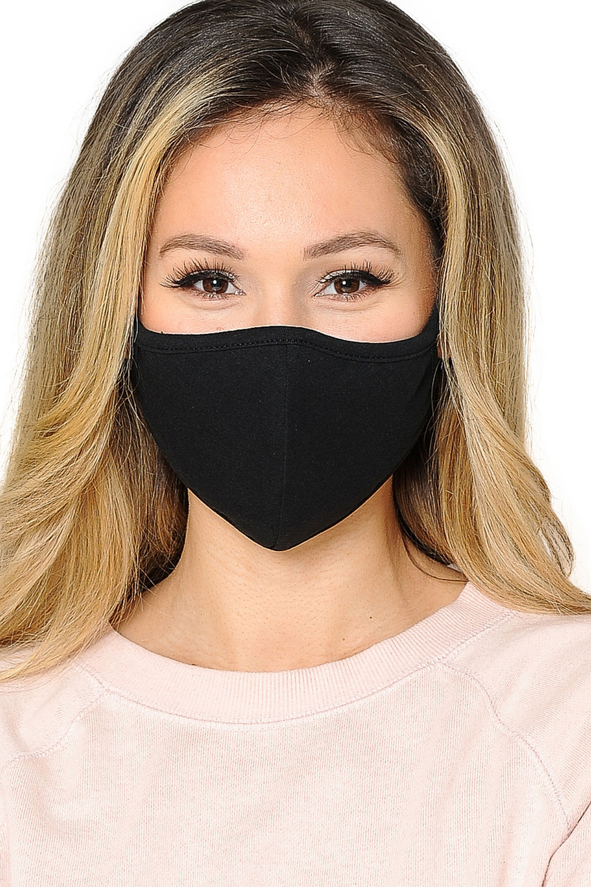 Front view of WOMEN'S FACE MASK- Premium 2-PLY Cotton with PM2.5 Filter Pocket - Made in USA in black.