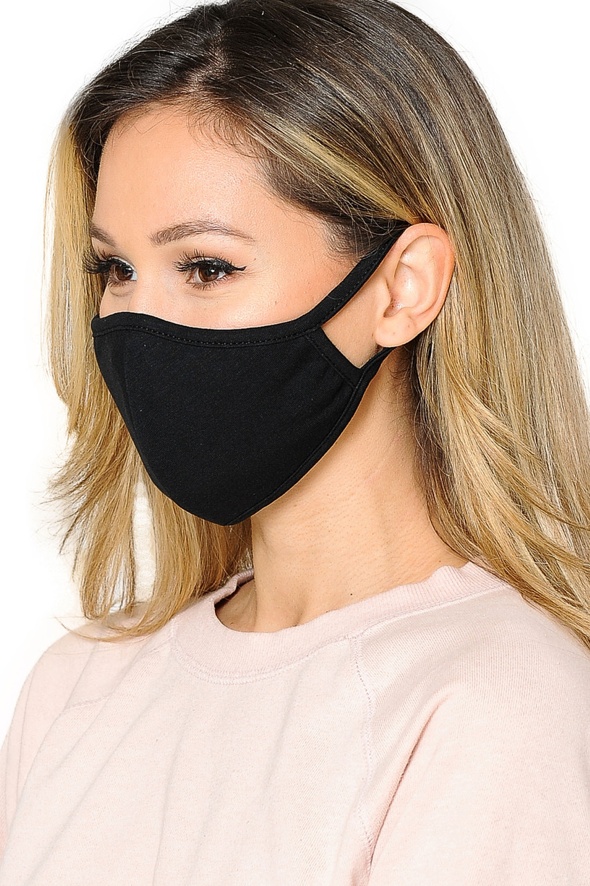 Mid Side view of WOMEN'S FACE MASK- Premium 2-PLY Cotton with PM2.5 Filter Pocket in black