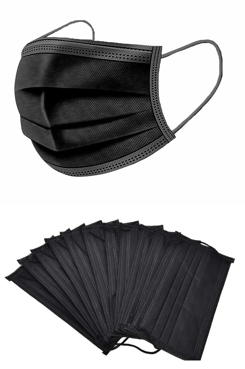 A 10 pack of Black 3 Ply Disposable Face Masks.