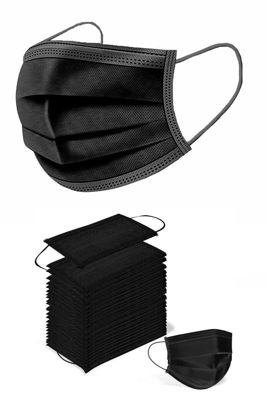 A 25 pack of Black 5 Ply Disposable Face Masks.