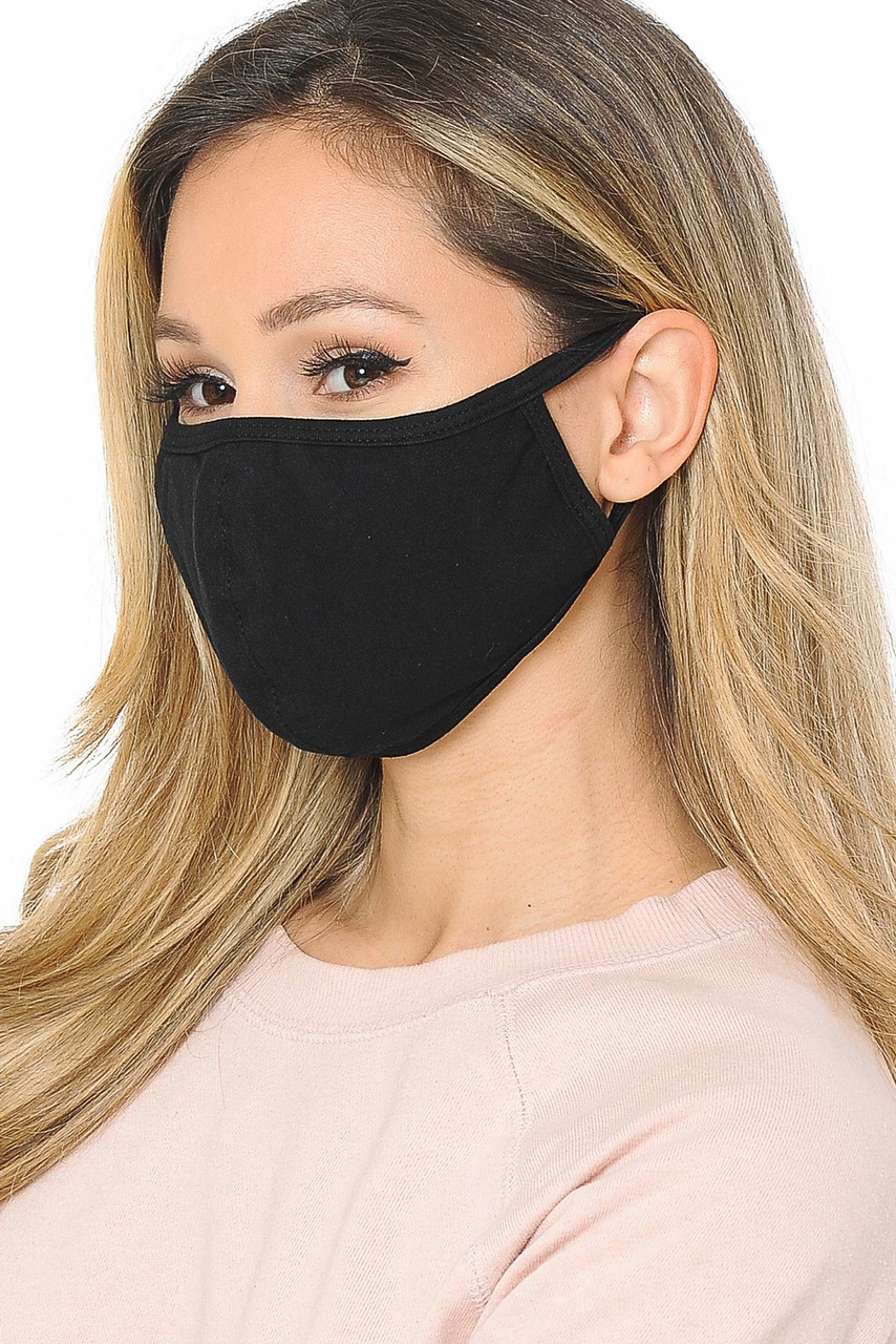 Left Side view of Unisex Cotton Face Mask with PM2.5 Filter Pocket - Made in USA