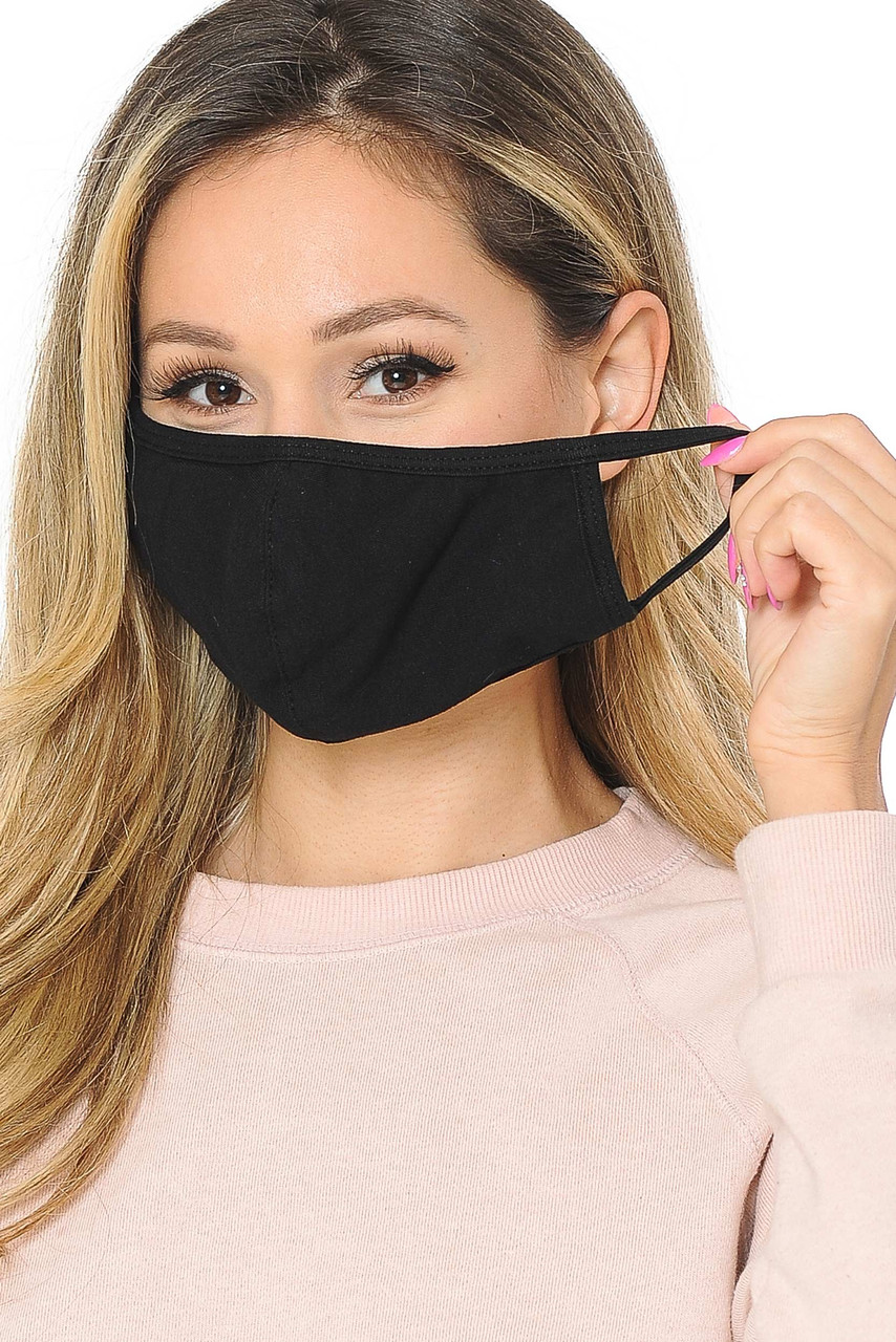 Black Unisex Cotton Face Mask featuring comfort elastic ear supports.