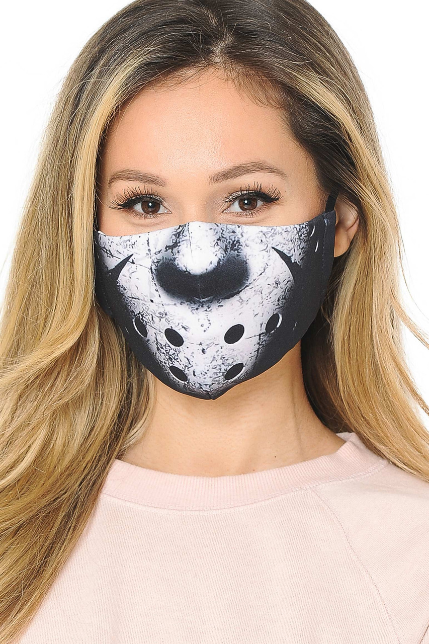 Friday the 13th Graphic Print Fashion Face Mask with a Jason Voorhees inspired design.
