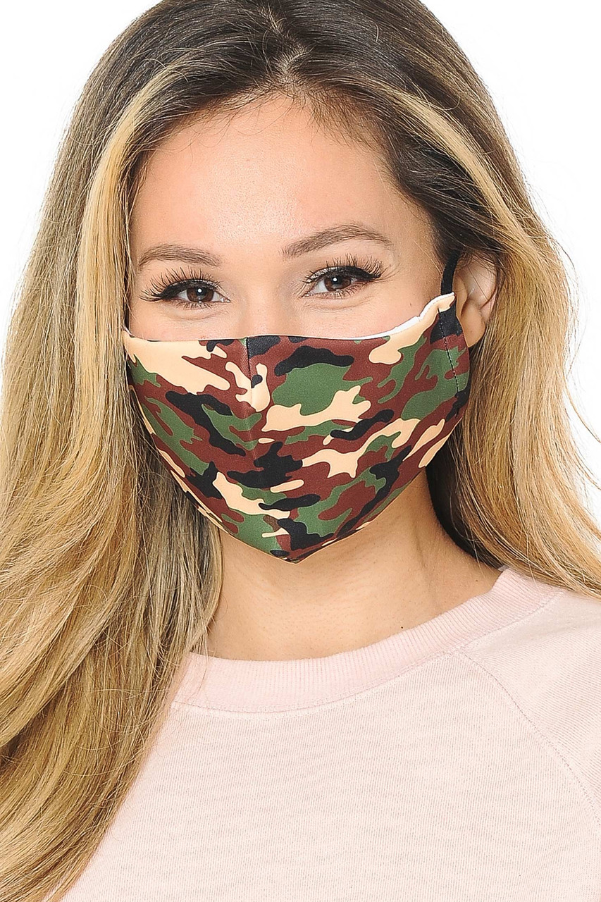 Our soft fabric Green Camouflage Graphic Print Fashion Face Mask combines trendy style and comfort.