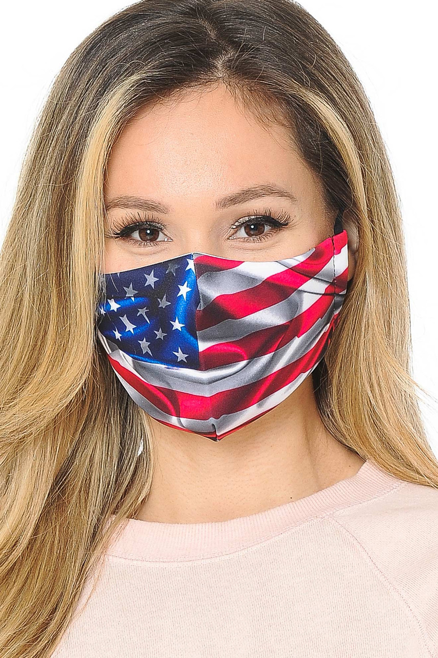 Our soft fabric USA Flag Graphic Print Face Mask combines patriotic style and comfort.