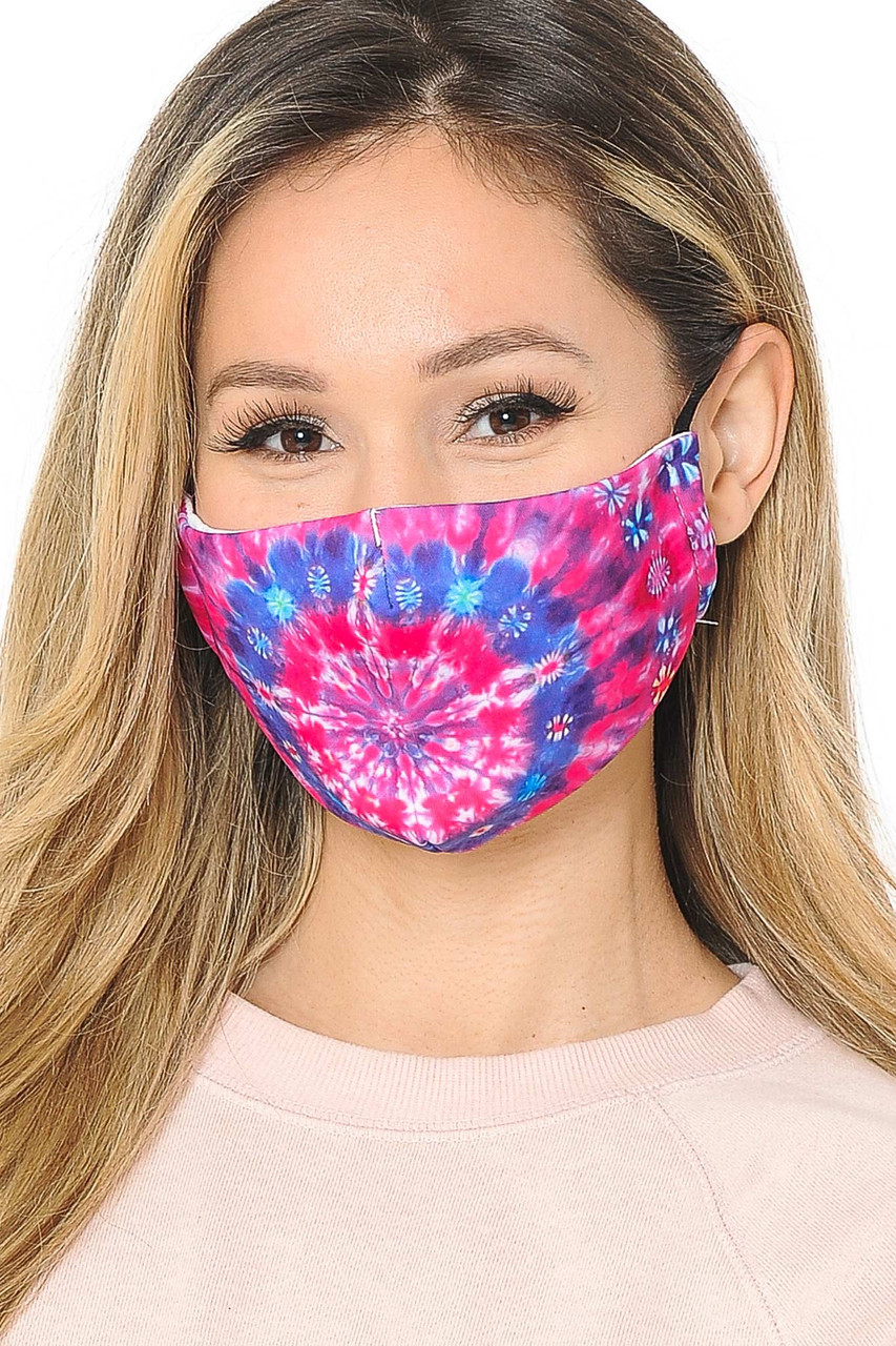 Our soft fabric Fuchsia Tie Dye Graphic Print Fashion Face Mask  combines sassy vibrant style and comfort.