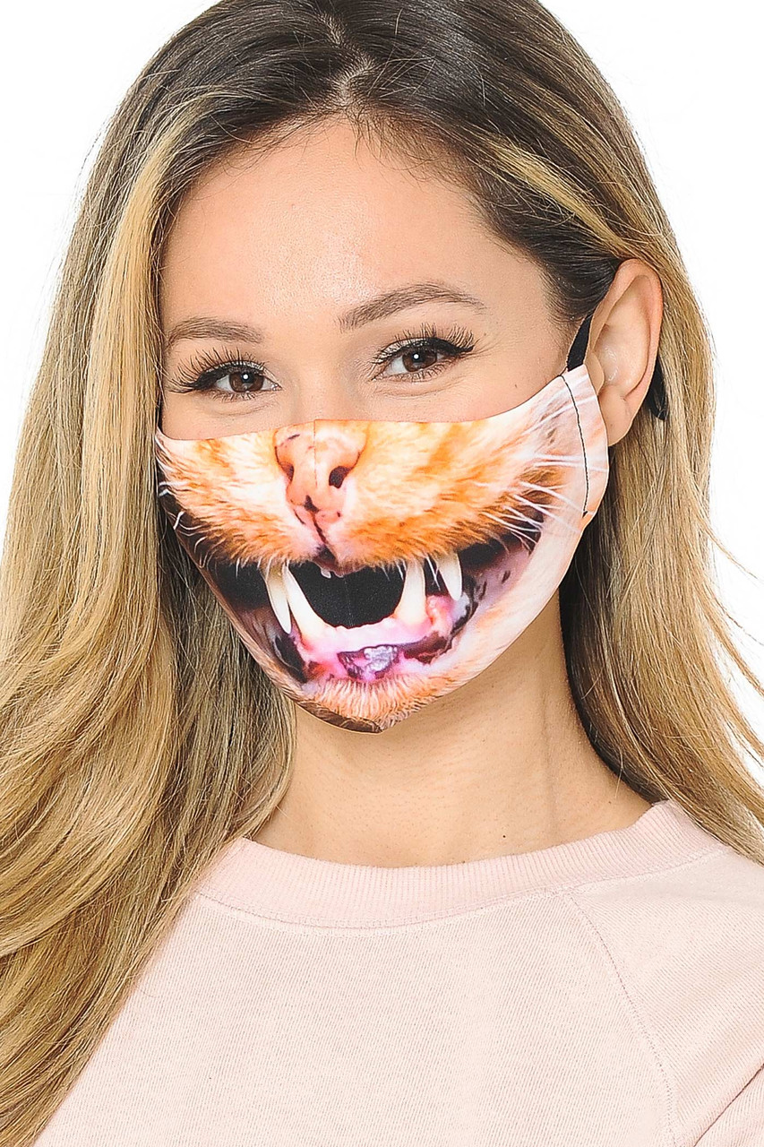 Our soft fabric Kitty Cat Mouth Graphic Print Face Mask combines sassy style and comfort.