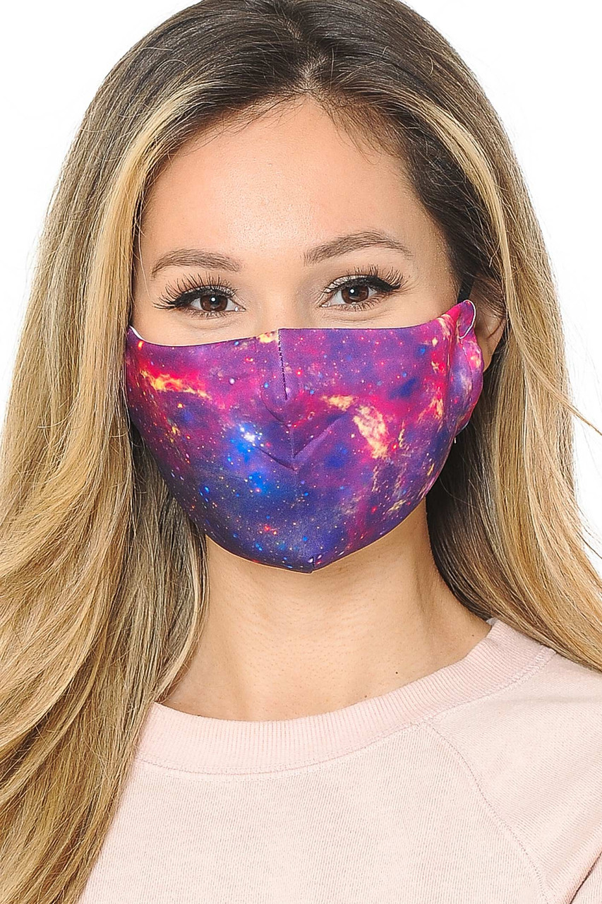 Our soft fabric Galaxy Graphic Print Face Mask combines colorful sassy style and comfort.
