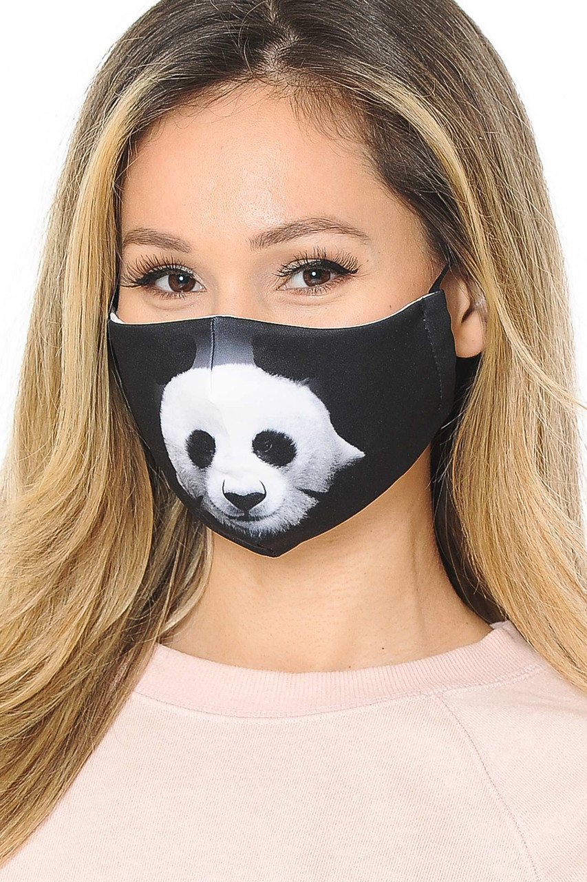 Our soft fabric Panda Graphic Print Face Mask combines cute style and comfort.