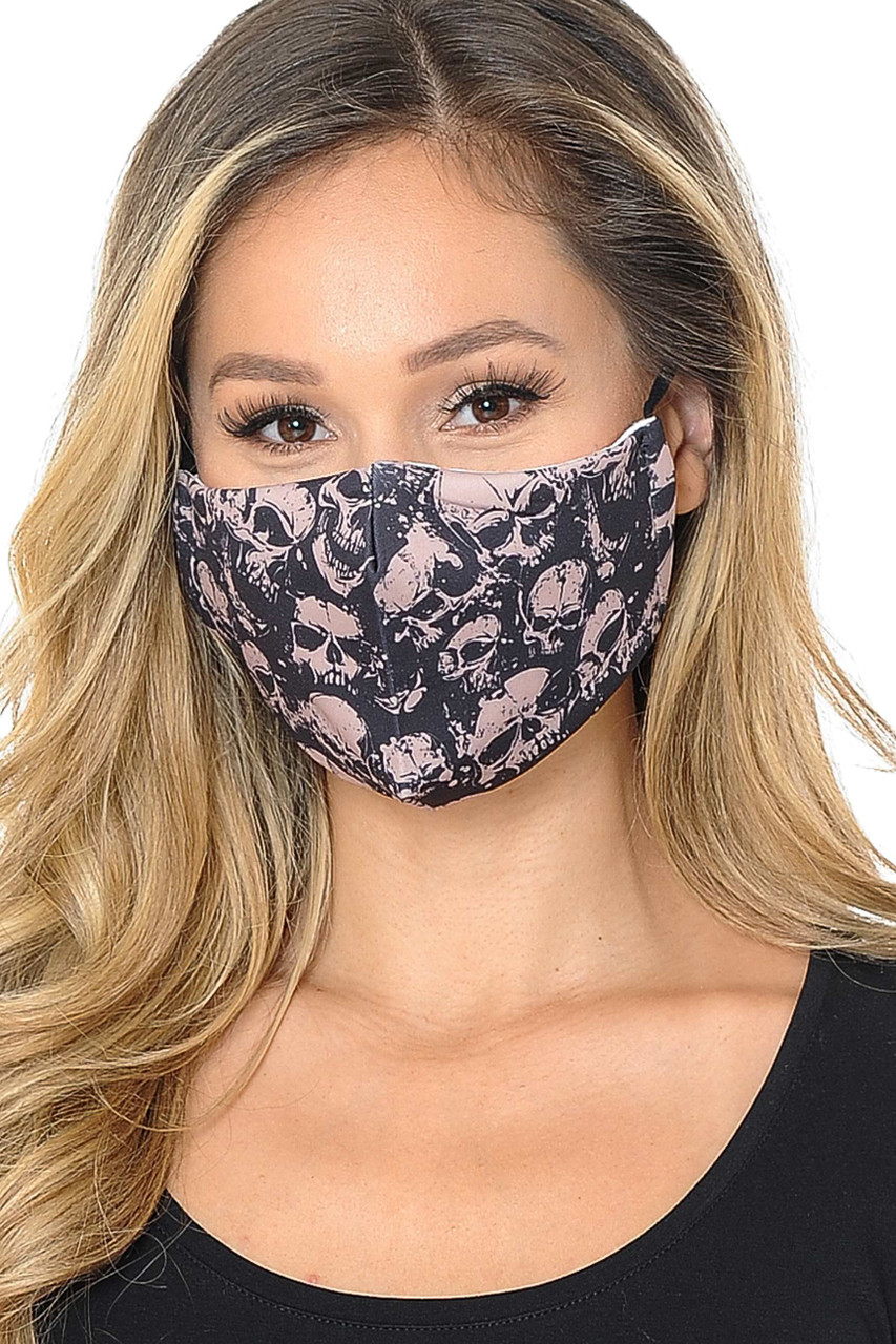 Our soft fabric Skulls Graphic Print Face Mask combines edgy style and comfort.