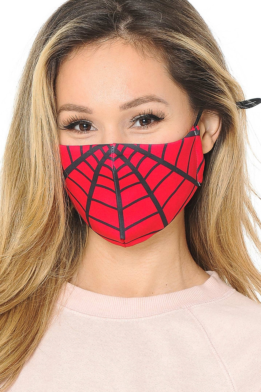 Front facing view of our black on red Spiderman Web Graphic Print Face Mask with adjustable ear string sizing.