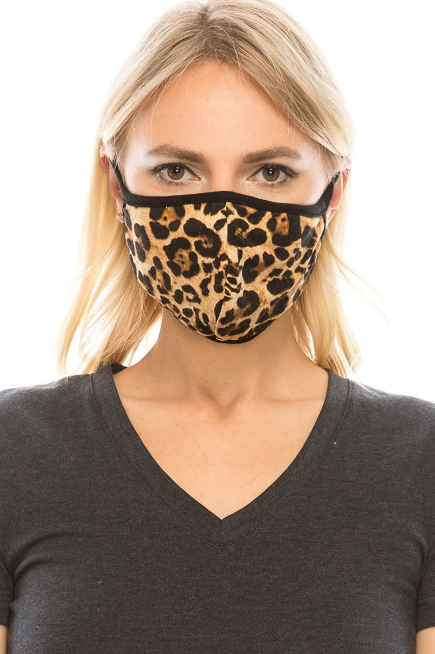 Front view of leopard print Fashion Face Mask with PM2.5 filter pocket.