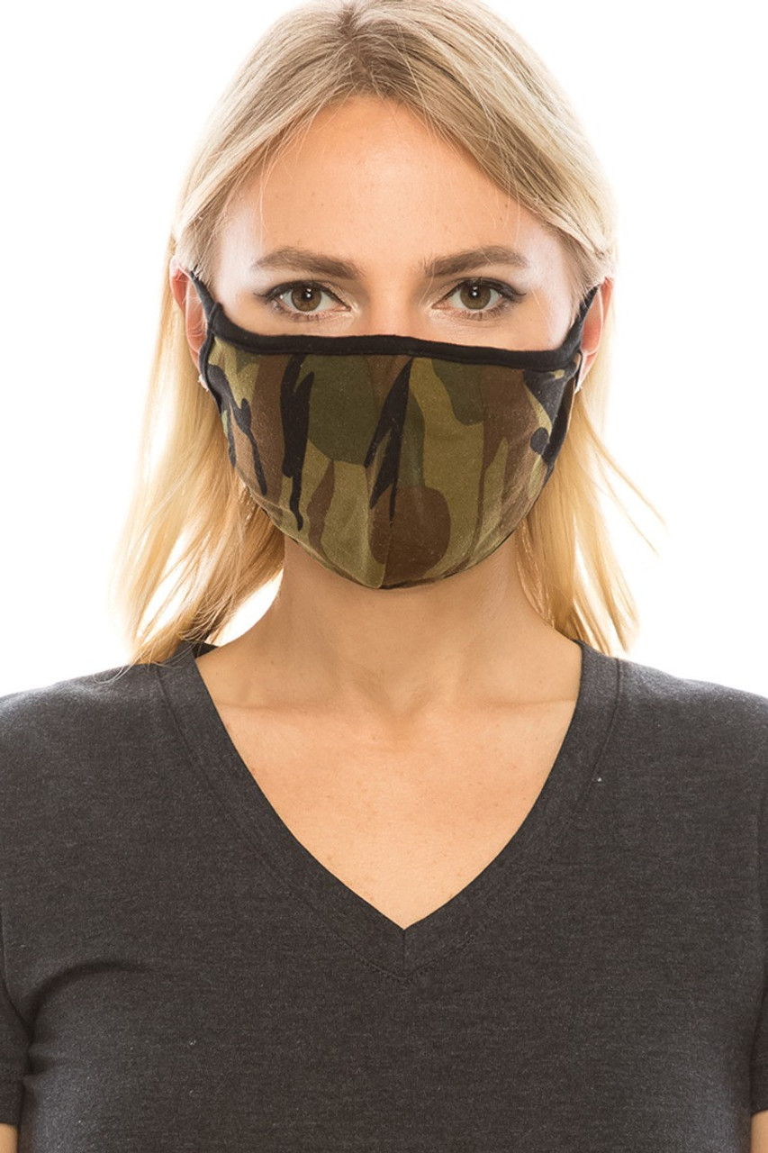 Front view of green camouflage print Fashion Face Mask with PM2.5 filter pocket.