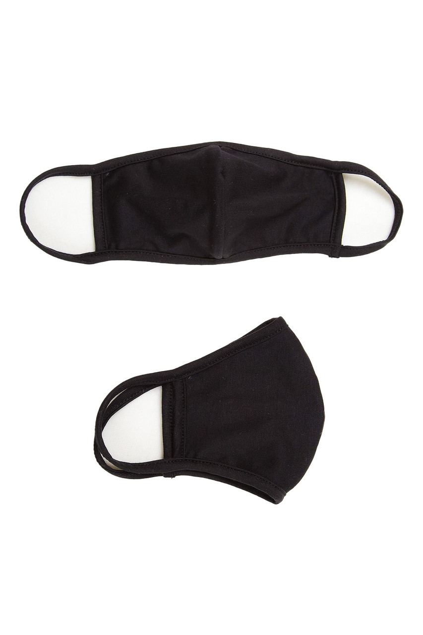 View of black Fashion Face Mask with PM2.5 filter pocket and earloop supports.