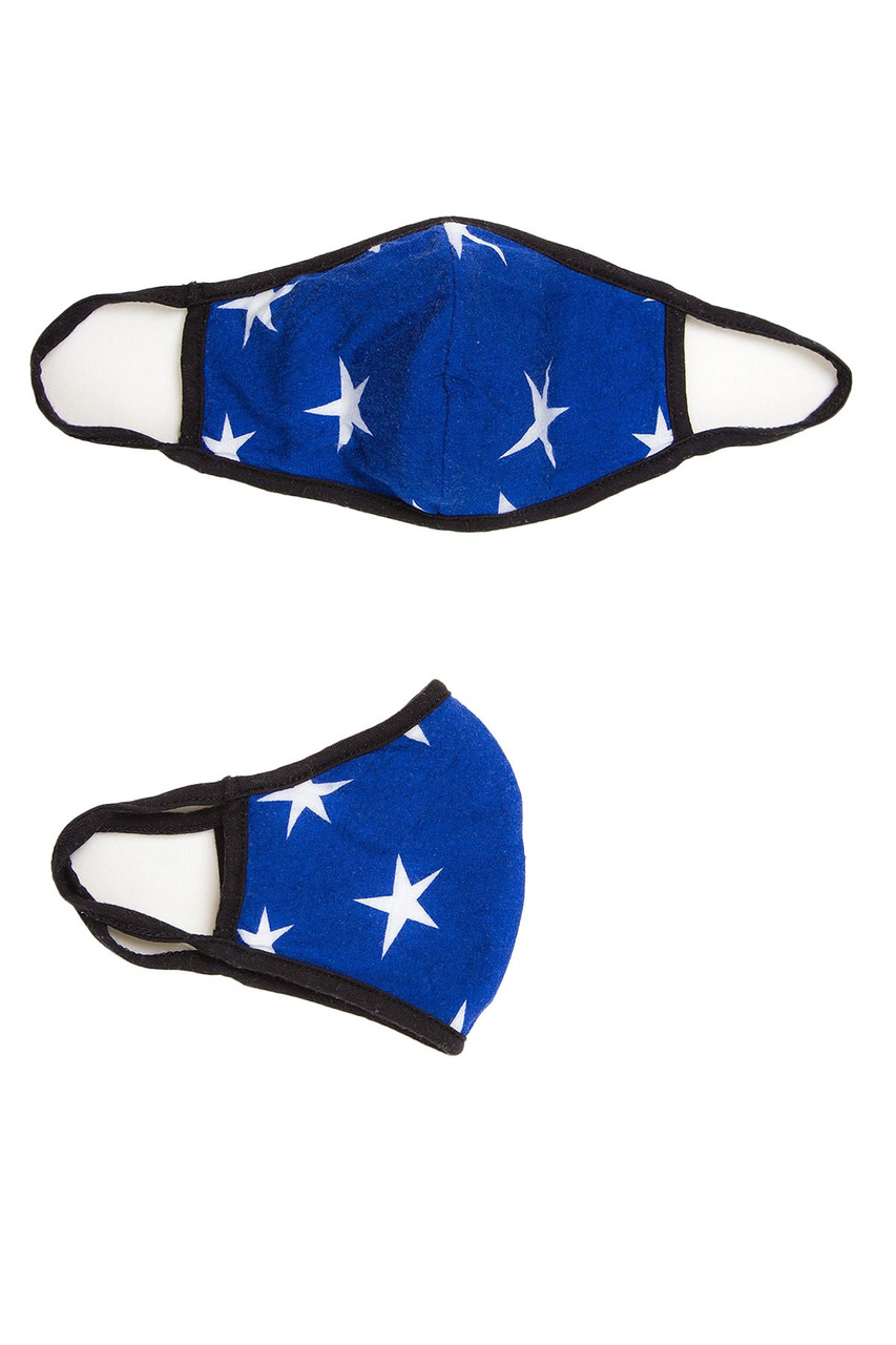 View of white stars on blue Fashion Face Mask with PM2.5 filter pocket and earloop supports.
