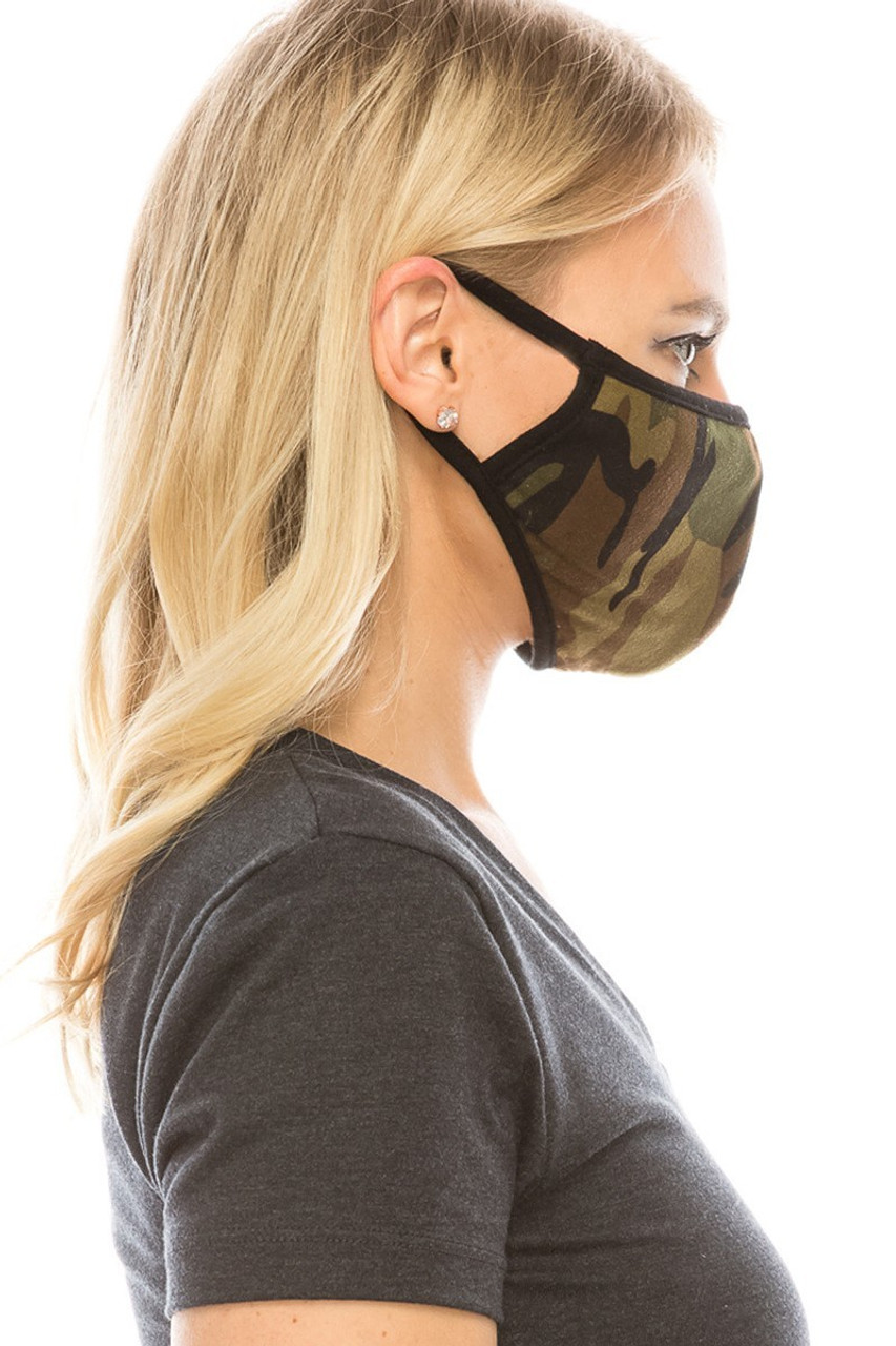 Side view of olive camouflage print Fashion Face Mask.